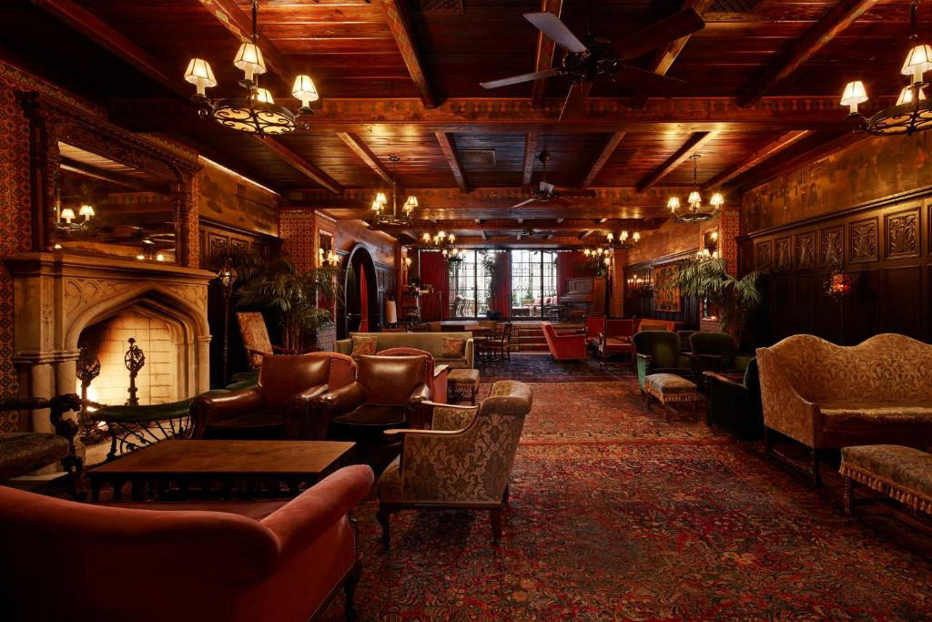 The lounge or bar area at The Bowery Hotel