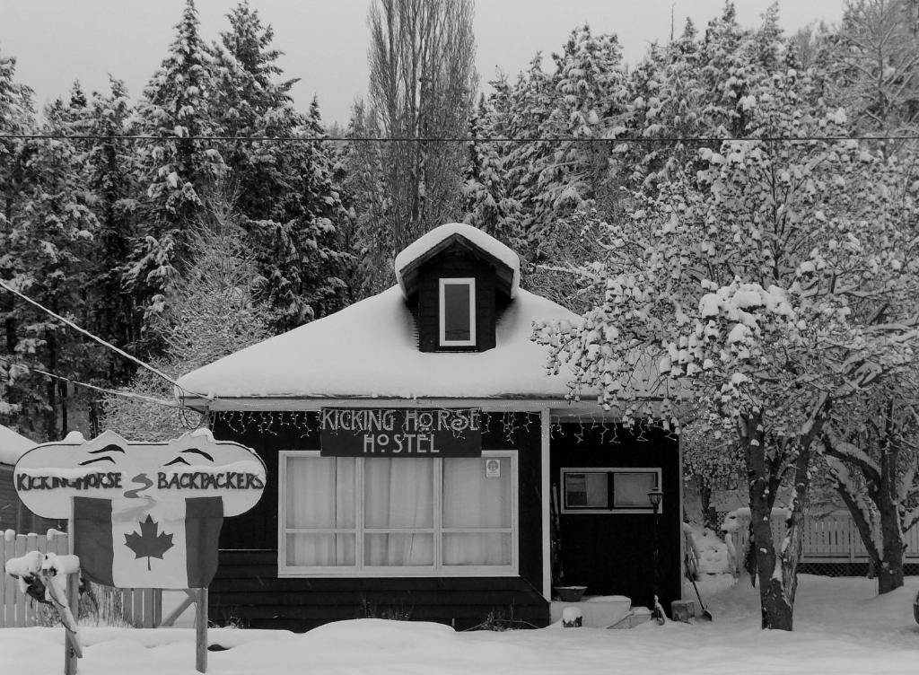 Kicking Horse Hostel during the winter