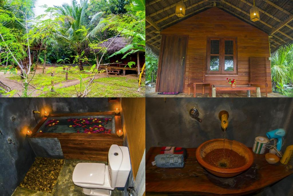 A bathroom at Heaven Natural Tent And Tree House