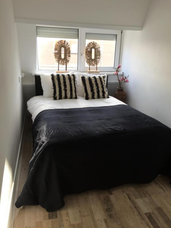 Een bed of bedden in een kamer bij appartementen zeespiegel