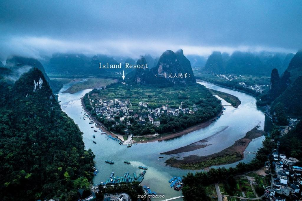 A bird's-eye view of Yangshuo Xingping Island Resort