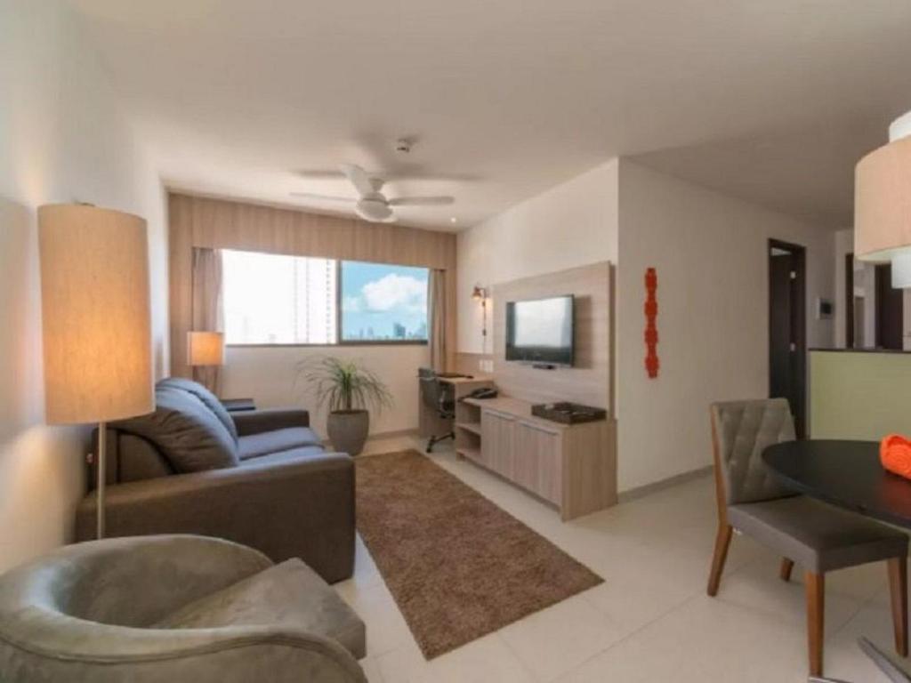 A seating area at NOB1804 Excelente Flat em Boa Viagem com 2 quartos