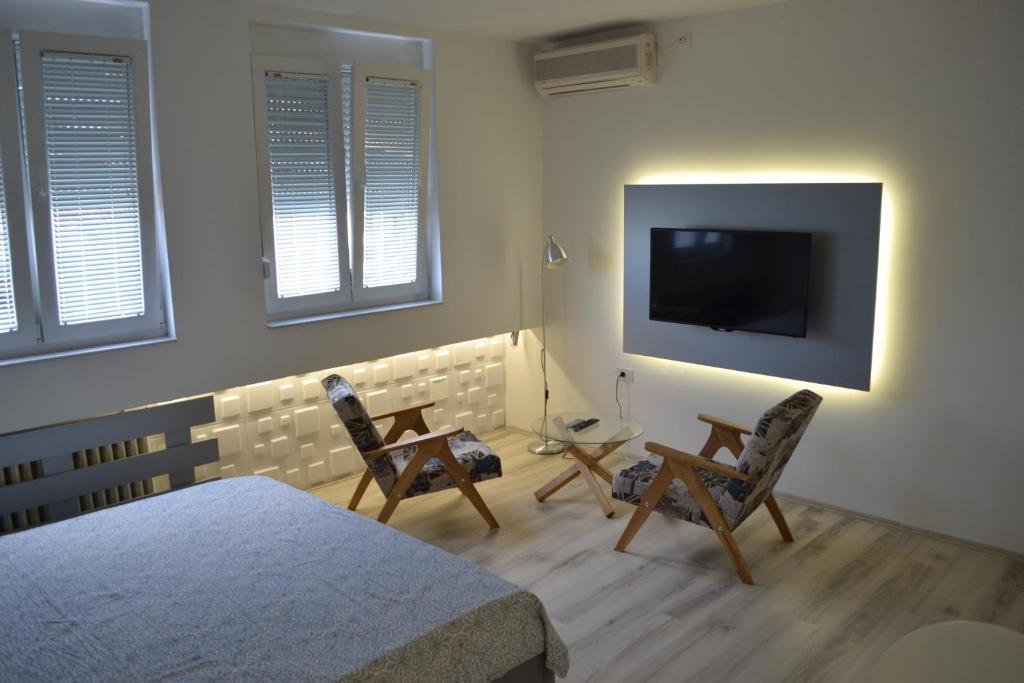 TV tai viihdekeskus majoituspaikassa Lazarus Studio Apartment