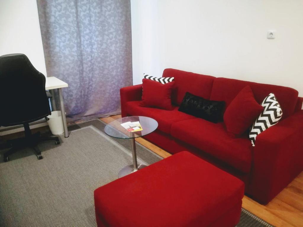 Ein Sitzbereich in der Unterkunft Apartment Wasagasse