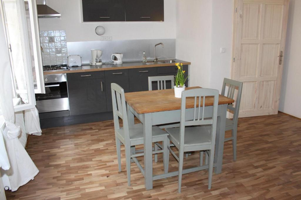 A kitchen or kitchenette at Apartman u Hradcan