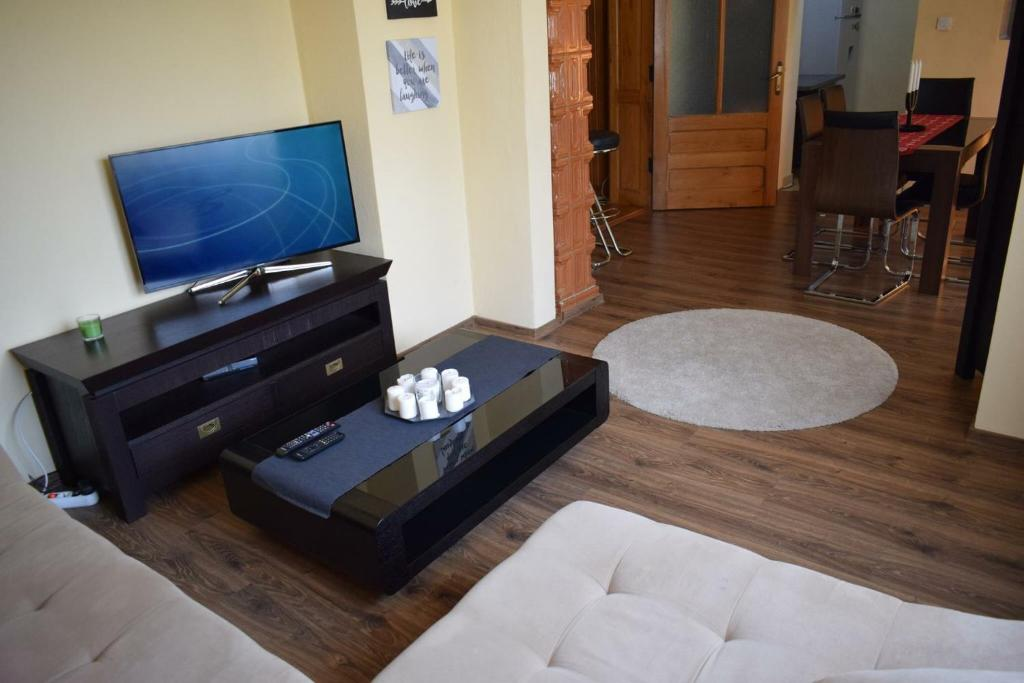 A television and/or entertainment center at Apartament Camelia Orsova