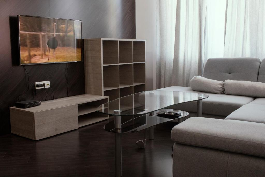 A seating area at Trio Finest Skopje Apartments
