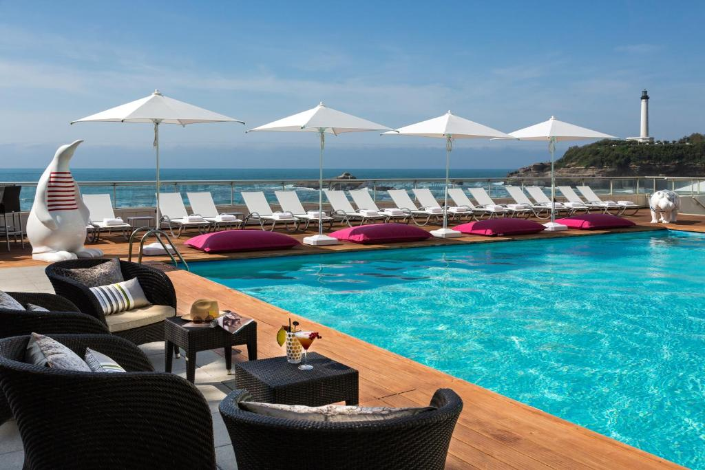 The swimming pool at or near Sofitel Biarritz Le Miramar Thalassa