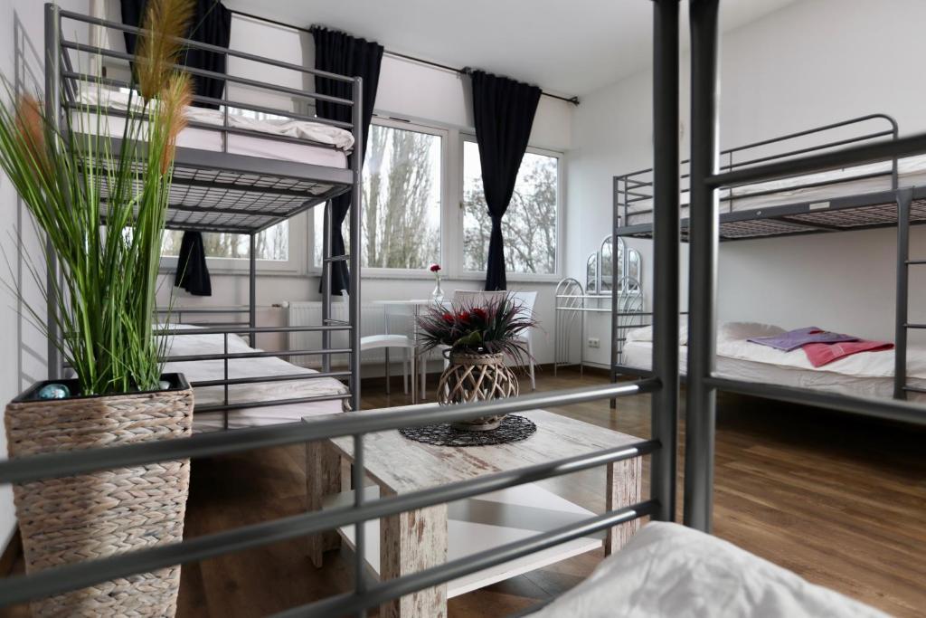 Двухъярусная кровать или двухъярусные кровати в номере K&M Hostel