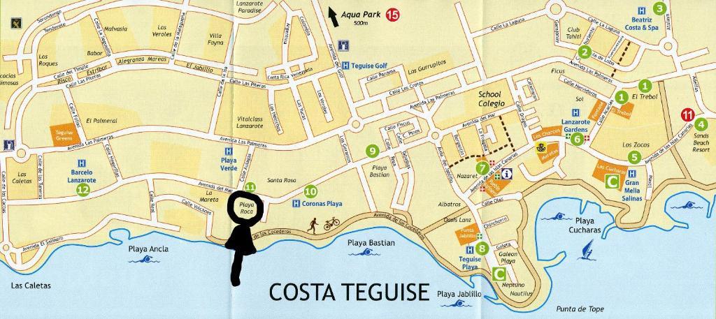 Costa Teguise Map Villa Casa a primera linea de mar, Costa Teguise, Spain   Booking.com