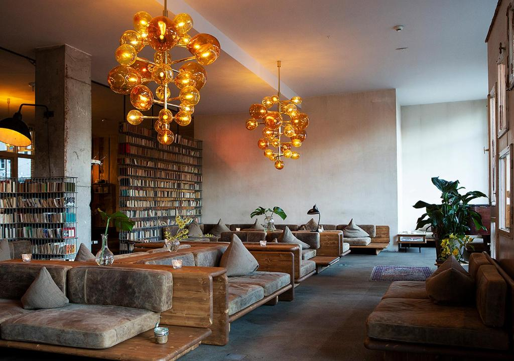 A seating area at Michelberger Hotel