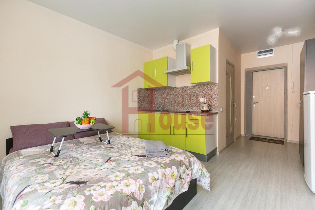 Кровать или кровати в номере Железнодорожная 15, 3-й этаж