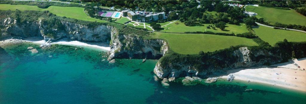 A bird's-eye view of The Carlyon Bay Hotel