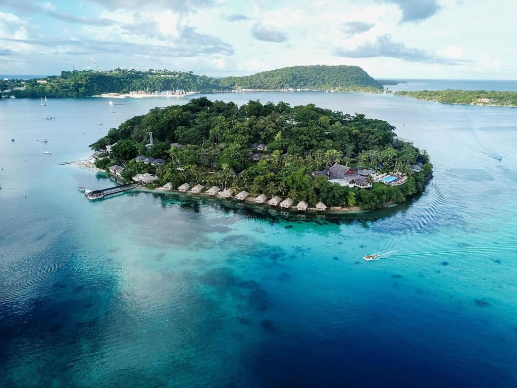 A bird's-eye view of Iririki Island Resort & Spa