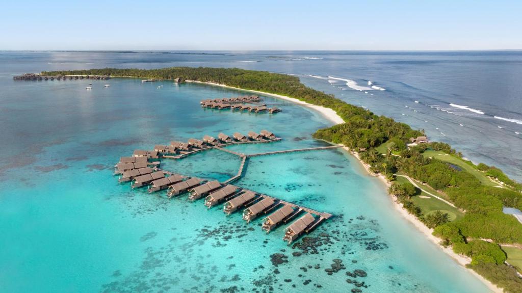 A bird's-eye view of Shangri-La's Villingili Resort and Spa, Maldives