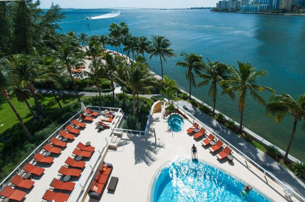 A view of the pool at Mandarin Oriental, Miami or nearby