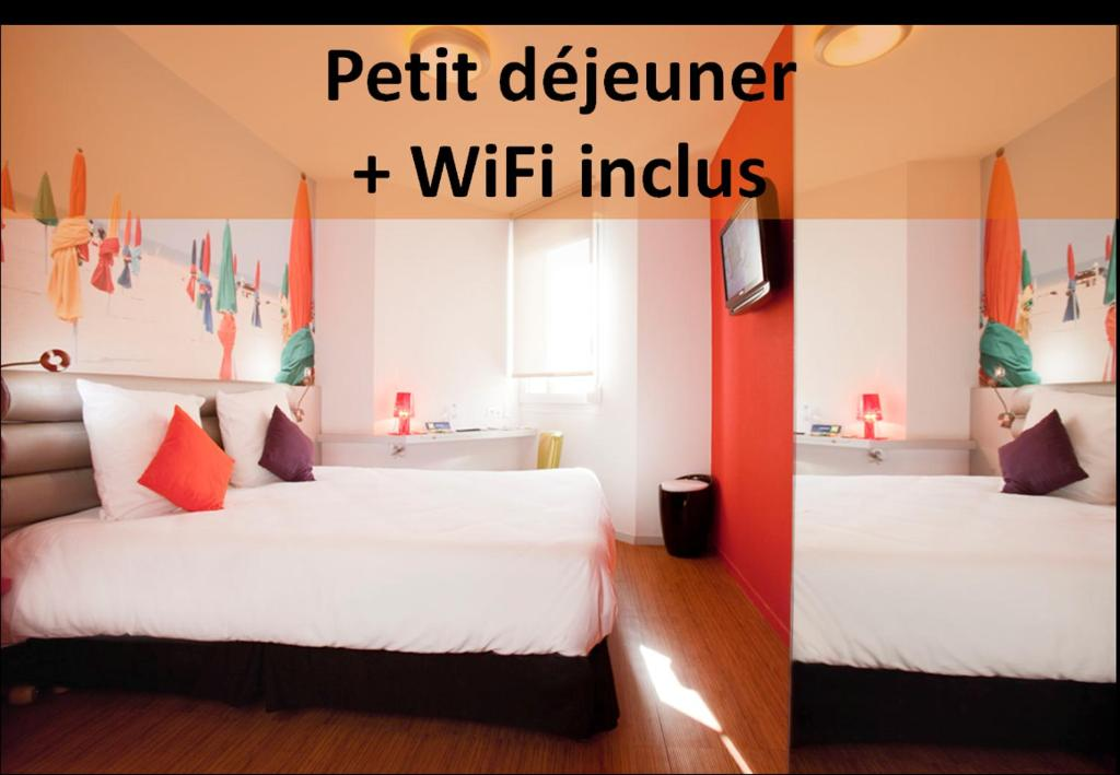 Tempat tidur dalam kamar di ibis Styles Saint Brieuc Gare Centre