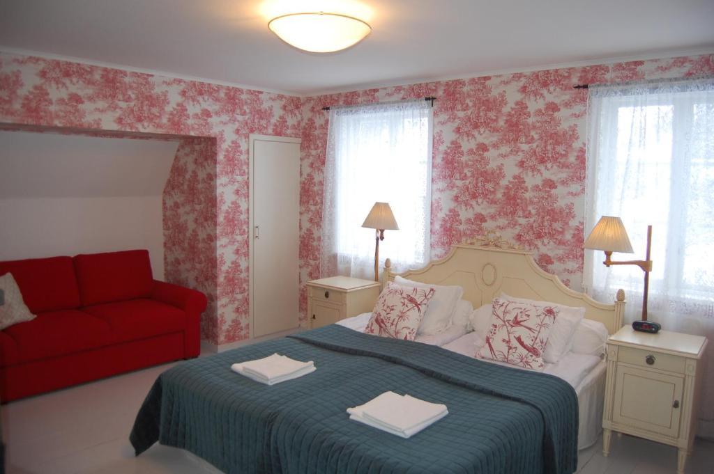 Cama o camas de una habitación en STF Vickleby Bo Pensionat