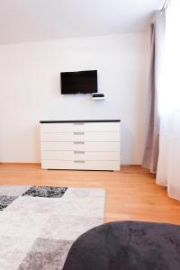 A television and/or entertainment center at Amici Apartments Prater