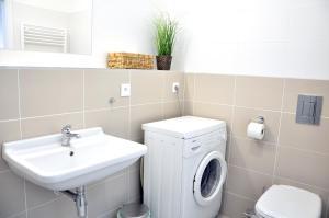 A bathroom at Bratislava Apartment Prievozska