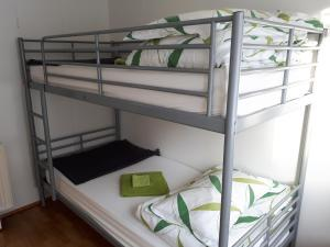 A bunk bed or bunk beds in a room at Brúnalaug Guesthouse - Holiday Home