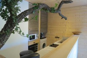 Een keuken of kitchenette bij Le gite du grand cèdre