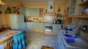 A kitchen or kitchenette at Große Ferienwohnung an den Schmetterlingswiesen