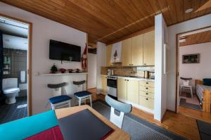 A kitchen or kitchenette at Lake house with sauna