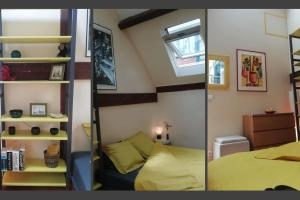 A bed or beds in a room at Artist's studio - Loft with garden center of Paris