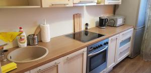 A kitchen or kitchenette at Haava Apartment