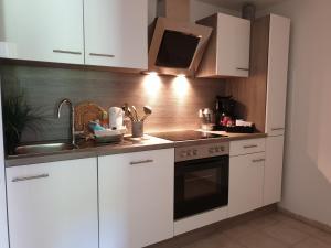 A kitchen or kitchenette at Ferienwohnung Vier Pfoten