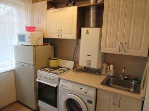 A kitchen or kitchenette at Oranienbaum Apartments