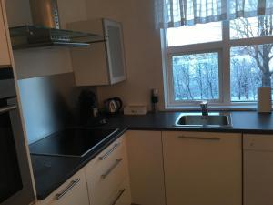 A kitchen or kitchenette at Smárinn Apartment