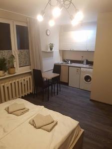 A kitchen or kitchenette at Mieszkanko w Centrum