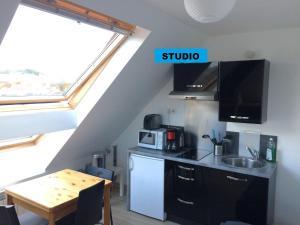 A kitchen or kitchenette at Studio et appartement Vue Mer