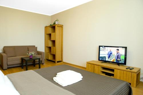 A television and/or entertainment center at Apartment on Osenniy Bulevard 10