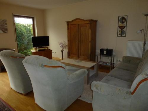 Ein Sitzbereich in der Unterkunft Ferienwohnung Knauf