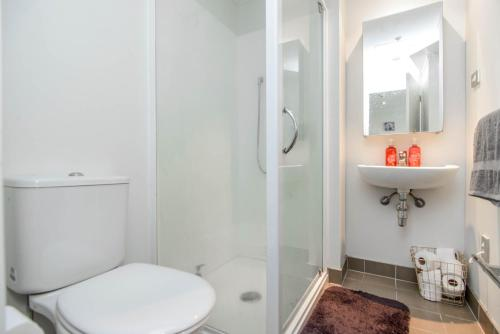 A bathroom at Modern and cozy 2 bedroom apartment in Auckland CBD