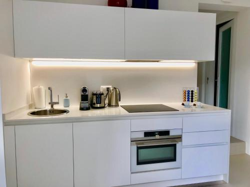 A kitchen or kitchenette at Contemporary Lake View Apartments