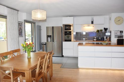 A kitchen or kitchenette at Apt Terrasse Ourcq