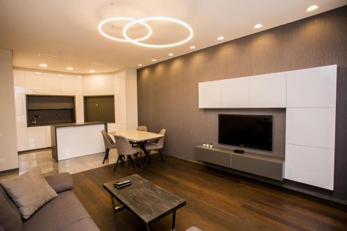 A television and/or entertainment center at North Avenue Modern Apartments