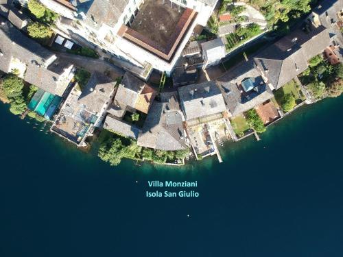 A bird's-eye view of Villa Monziani, exclusive island lakeside villa