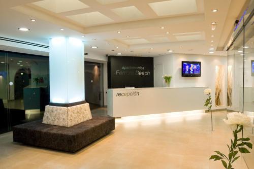 The lobby or reception area at Apartamentos Ferrera Beach