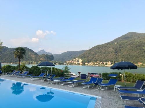 The swimming pool at or near Lugano lake's luxury residence