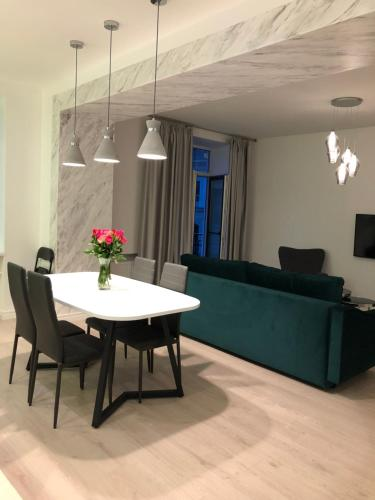 A seating area at Riga serviced apartment