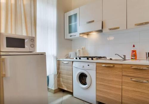 A kitchen or kitchenette at Apartments U Staropramenu