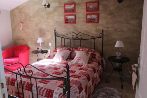 Un ou plusieurs lits dans un hébergement de l'établissement Les gîtes du veau d'or