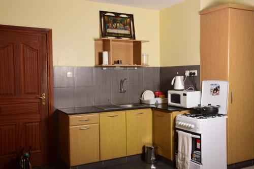 A kitchen or kitchenette at Tildah Studio Apartments