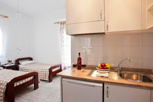 A kitchen or kitchenette at Ancient Thera Studios