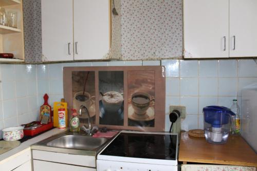 A kitchen or kitchenette at kvartira u metro Krylatskoe